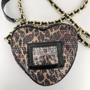 Betsey Johnson Bag Heart Leopard Sequence Crossbdy